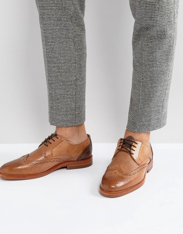 Hudson London Osney Leather Brogue Shoes In Tan
