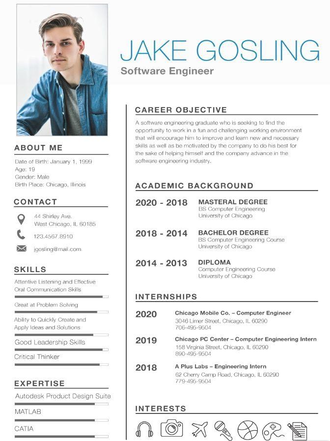 Resume Template With Headshot Photo Cover Letter 1 Page Word Resume Design Diy Cv Template Cv Kreatif Desain Resume Desain Cv