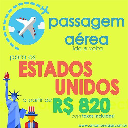 Passagem aérea ida e volda para os Estados Unidos a partir de R$820 (com taxas INCLUÍDAS)