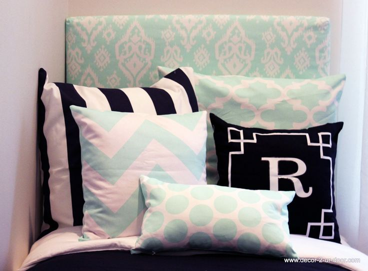 Mint Ikat And Navy Design Ur Own Dorm Headbaord And Pillows. Designer  Headboard, Custom
