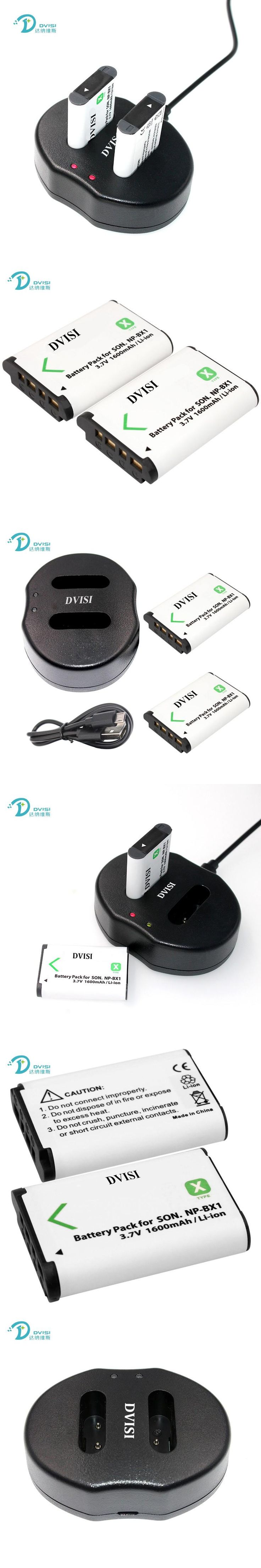 2pcs NP-BX1 NP BX1 Camera RechargeableBattery + USB Dual Charger for Sony HDR-AS100v AS30 AS15 DSC-RX100 HX400 WX350 Camera