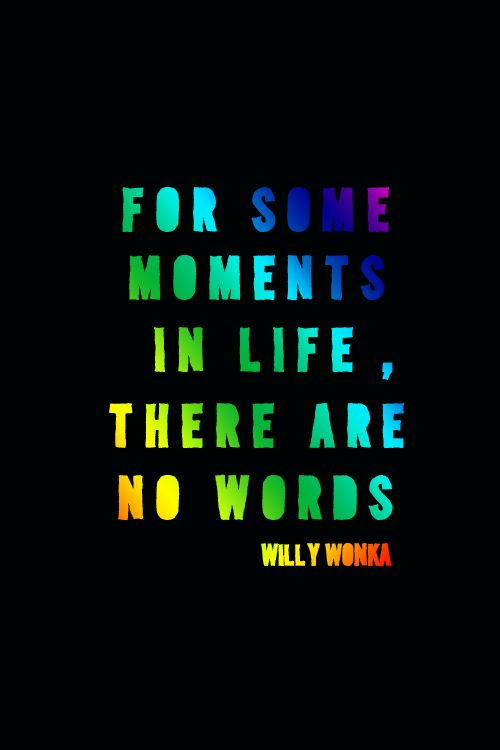 ♥For some moments in life,there are no words.  Willy Wonka