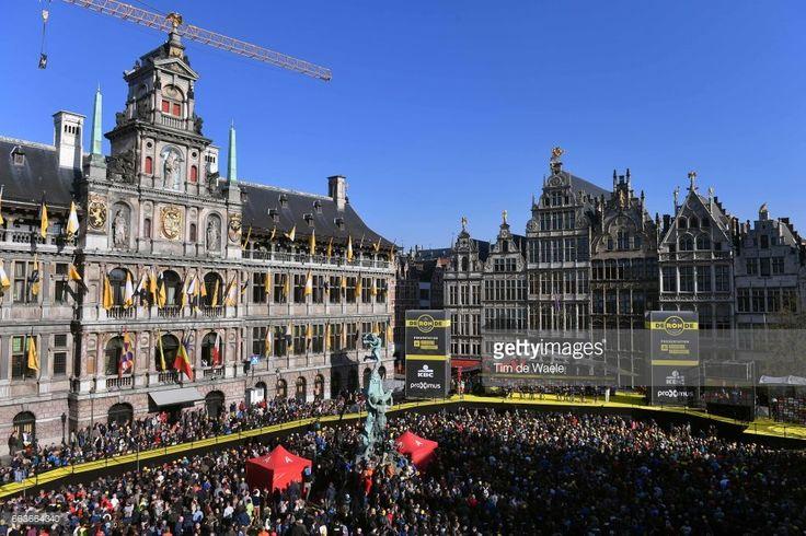 101st Tour of Flanders 2017 / Men Start / Podium / Ian STANNARD (GBR)/ Luke ROWE (GBR)/ Gianni MOSCON (ITA)/ Salvatore PUCCIO (ITA)/ Christian KNEES (GER)/ Owain DOULL (GBR)/ Jonathan DIBBEN (GBR)/ Lukasz WISNIOWSKI (POL)/ Team SKY (GBR)/ Grote Markt / Antwerpen City / Public / Fans/ Antwerpen - Oudenaarde (260km)/ Men / Ronde Van Vlaanderen / Tour of Flanders /