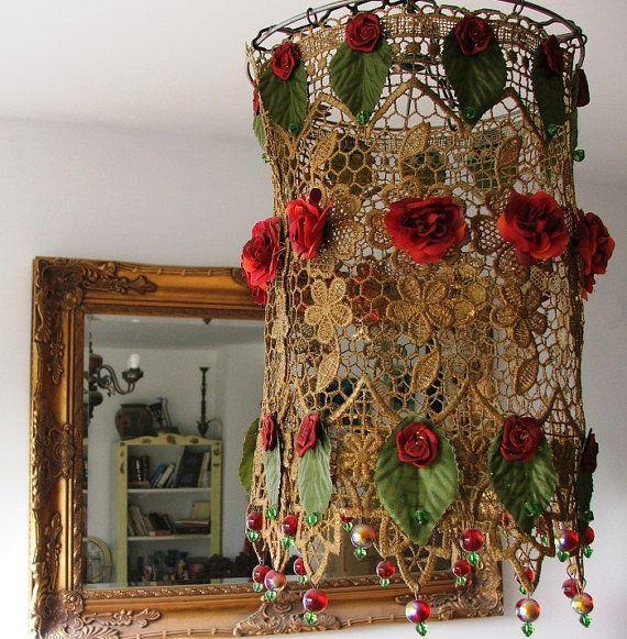 Handmade Lamp Shade   Lovely  Rose Garden Hanging  lamp by AnatBon