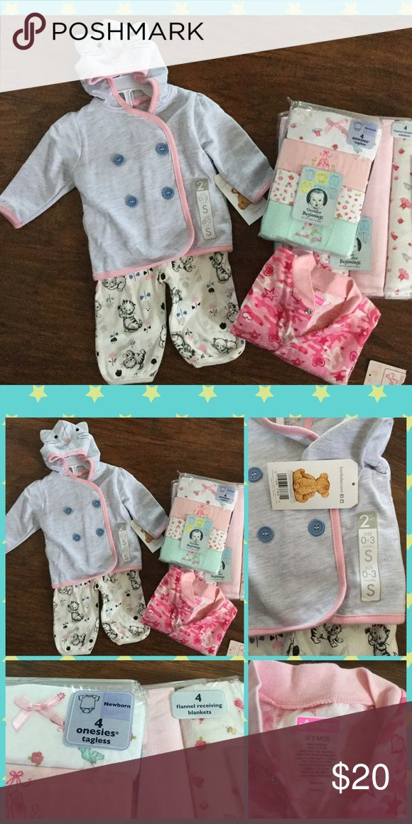 Baby Girl Bundle Baby Girl Bundle, 4 Flannel Gerber Receiving Blankets, 4 Gerber Onsies (size Newborn), 1 Swigglers Footed Pajamas (size 0-3 months), 1 Bon Bebe Outfit (size 0-3 months). All is new with tags! Other