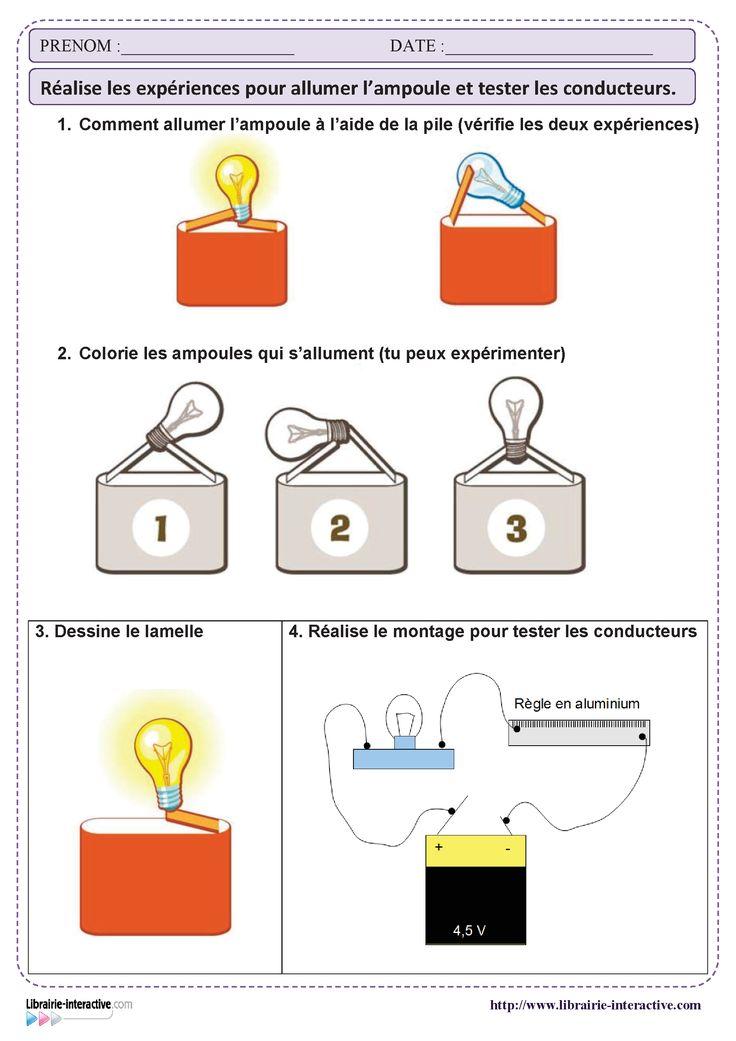 Une petite activité pour manipuler la pile et l'ampoule et réaliser un premier montage électrique pour tester les matériaux conducteurs.