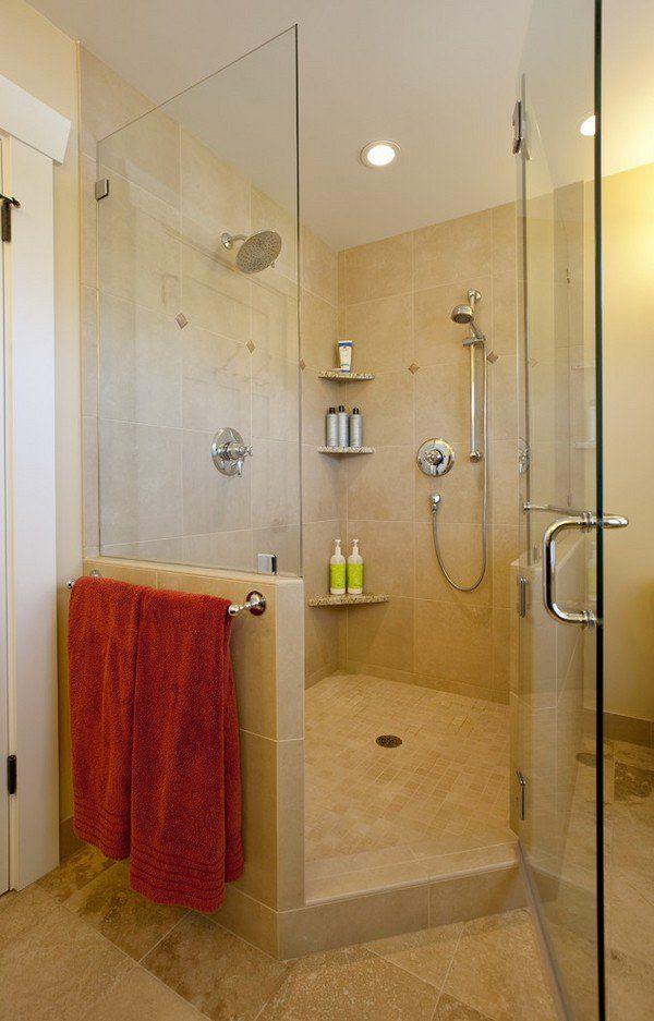 Bathroom design ideas walk in shower corner caddie shelves walk in shower