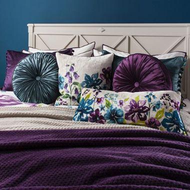 Isabella Square Plum Floral Cushion - £39 | brandinteriors.co.uk