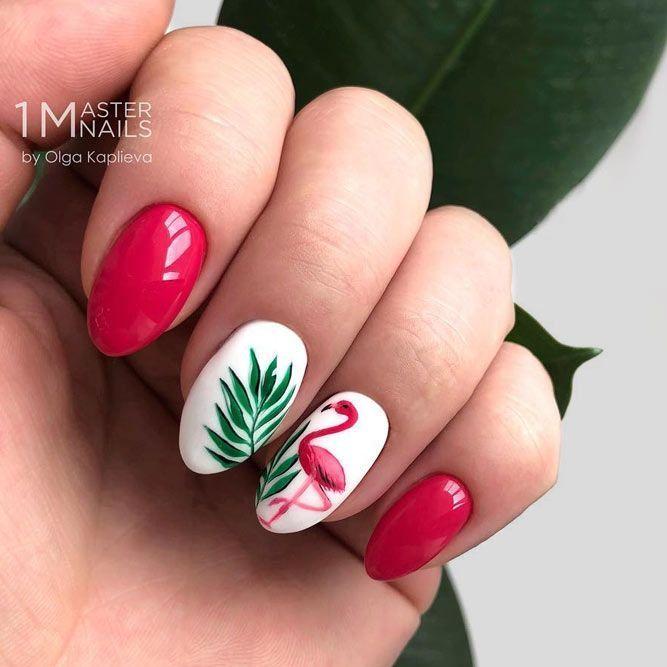 Flamingo Tropical Nail Art Perfekter Sommerakzent für die Saison Maniküre #pinknails … – Fingernägel