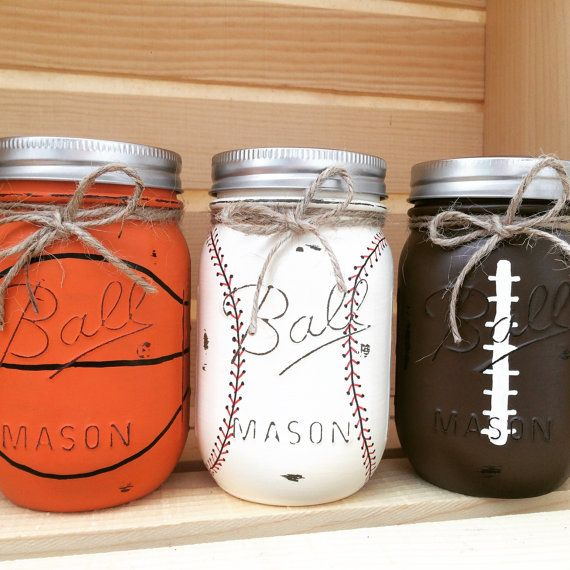 Set of 3 Hand-Painted Sports Themed, Mason Jars, Boys, Birthday, Sports Nursery, Baseball, Football, Gift for Him, Basketball, Sports decor