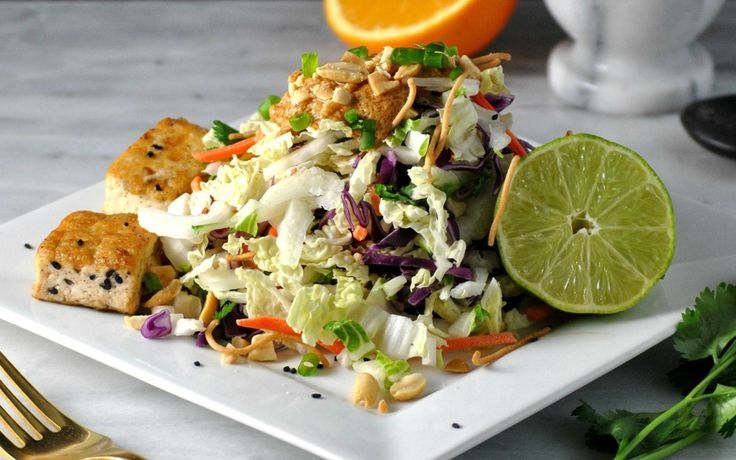 Chinese Cabbage Salad With Tofu and Spicy Peanut Dressing [Vegan] | One Green Planet