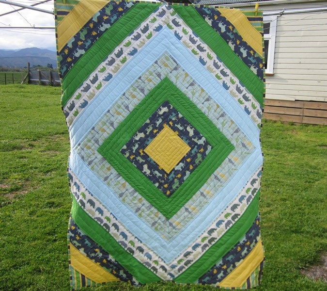 Diamond Animal Kingdom quilt from Highway Cottage featuring Urban Circus 2 fabric by Laurie Wisbrun: Kingdom Quilt, Bunk Quilt, Diamond Animal, Quilting, Cottage Featuring, Highway Cottage, Fabric Sighting