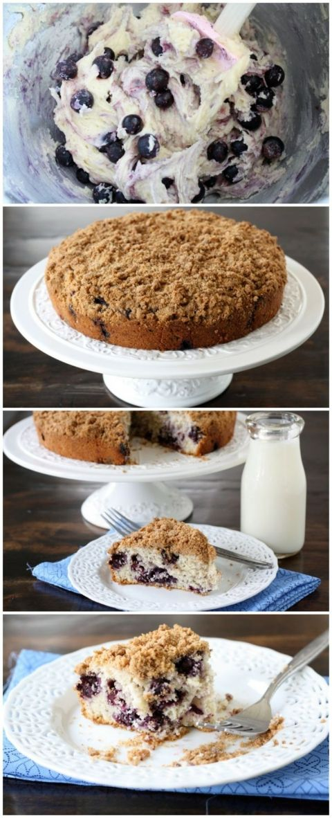 Blueberry Buckle Cake Recipe on twopeasandtheirpod.com This cake is great for breakfast or dessert!