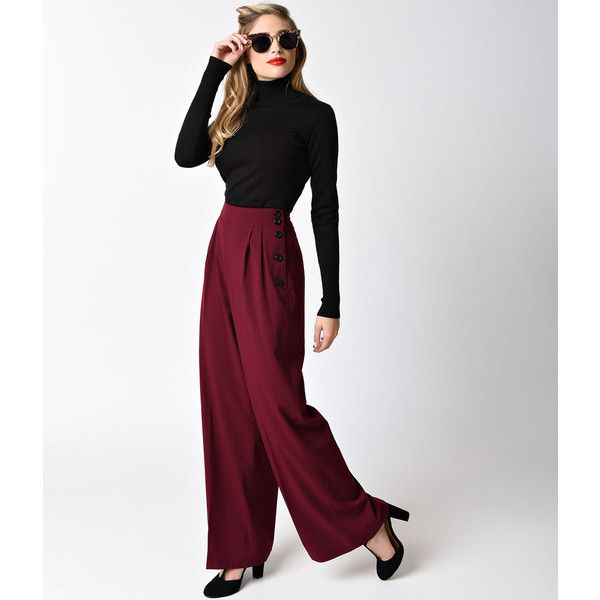 Hell Bunny Retro Style Burgundy Red High Waist Hubertine Wide Leg... ($70) ❤ liked on Polyvore featuring pants, red, high waisted dress pants, pleated dress pants, white dress pants, wide leg dress pants and stretch dress pants