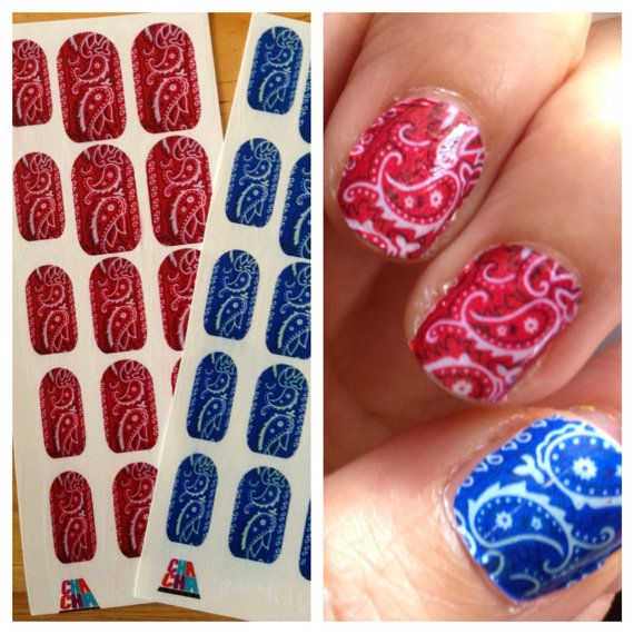 Hey, I found this really awesome Etsy listing at http://www.etsy.com/listing/151910774/red-blue-black-bandana-nail-decals
