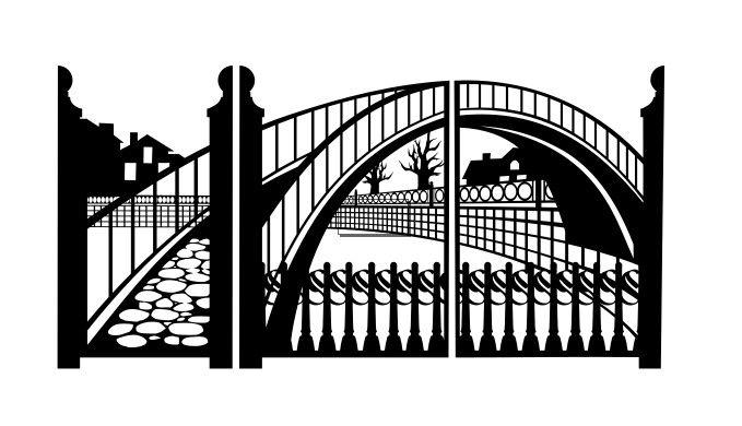 Ворота и калитка для лазерной резки тематика «Мост» | Модели для станков ЧПУ | Чертежи в масштабе.ру