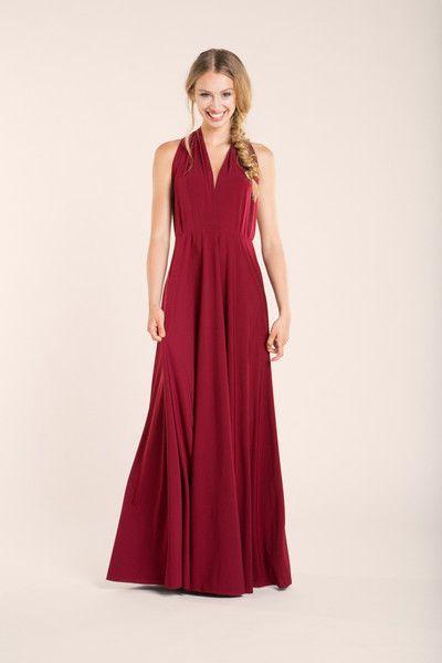 Vestidos maxi - Vestido largo rojo oscuro, vestido damas de honor - hecho a mano por Mimetik_Bcn en DaWanda