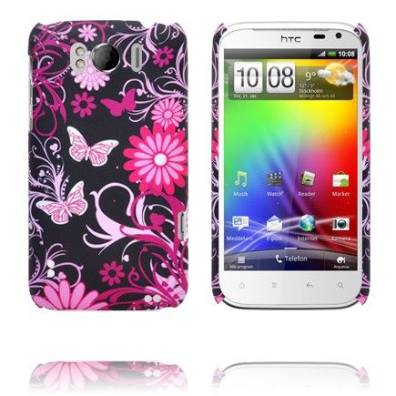 Valentine (Pinkit Perhoset - Musta) HTC Sensation XL Suojakuori