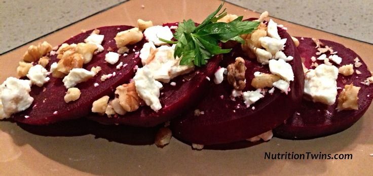 Beets with Feta & Walnuts | Sweet, Salty, Savory, Crunchy | 3 Simple Ingredients | 101 Guilt-free Calories | For MORE RECIPES, fitness & nutrition tips please SIGN UP for our FREE NEWSLETTER www.NutritionTwins.com