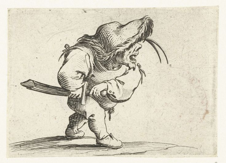 Jacques Callot | Dwerg met zwaard, in aanvallende houding, Jacques Callot, 1621 - 1625 | Dwerg, op de rechterzijde gezien, een slappe hoed met bontrand op het hoofd, de rechterhand aan de schede van zijn zwaard, de linkerhand aan het gevest. Deze prent is onderdeel van een serie van 21 prenten met groteske figuren; vrijwel al die figuren zijn dwergen, velen zijn gebocheld.