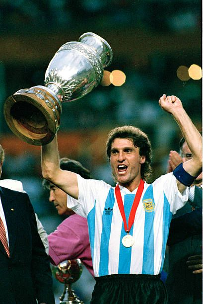 1993 Copa America Tournament Final Argentina beat Mexico Argentina's Oscar Ruggeri with the Copa America trophy