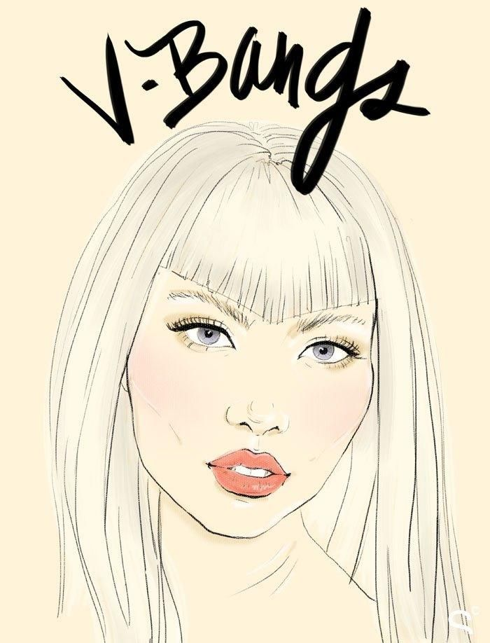 Bang Hairstyles: How the Coolest Girls Wear Bangs - V Bangs, consider them Betty Page meets Maleficent.
