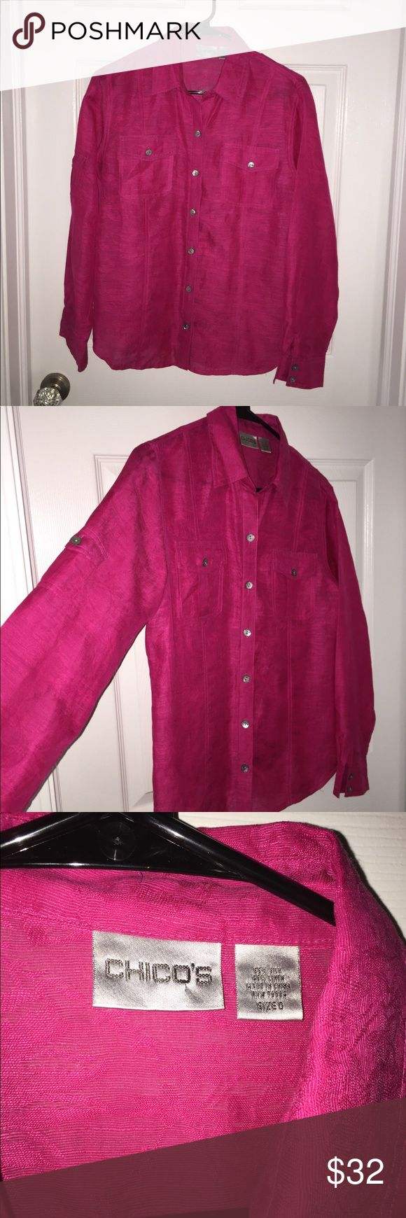 White House/Black Market Hot pink blouse Silk and linen blouse.  Monochromatic Design.  Hot pink/fuchsia Chico's Tops Button Down Shirts