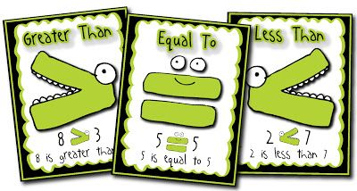 Poster FREEBIE!!  Greater than, less than, or equal to colorful math posters for your elementary math classroom. www.teacherspayteachers.com/Product/Comparing-Numbers-Posters-Greater-Than-Less-Than-and-Equal-To-613496