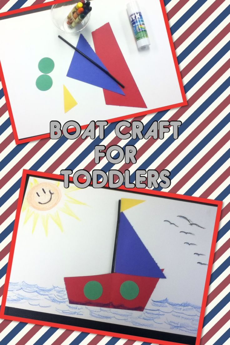 Boat theme craft for toddlers, easy and colorful, using geometrical shaped cut outs , in primary colors. After assembling boat , can draw different backgrounds. . Teaching about shapes and colors.