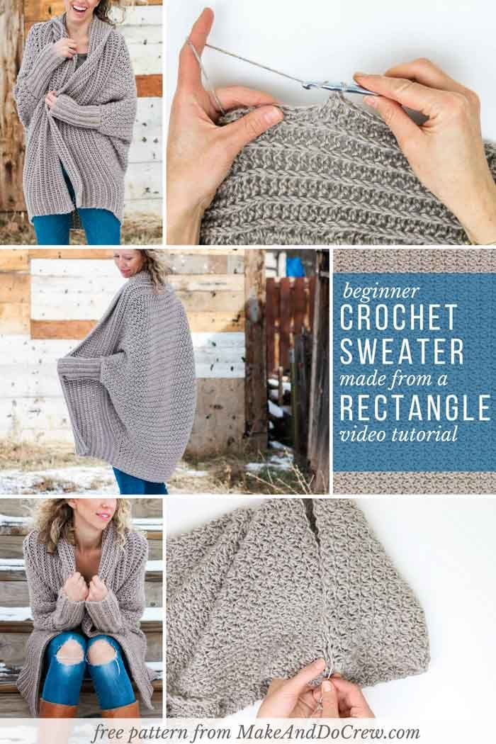 Learn how to make an easy, fashion forward cardigan from a simple rectangle in this beginner crochet sweater video tutorial. Drapey, soft, and in-style! via @makeanddocrew