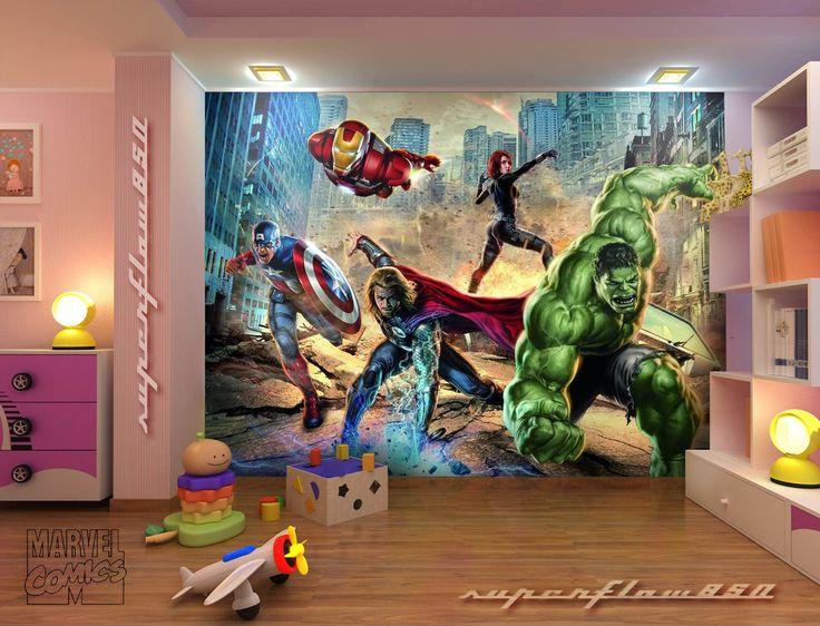 Avengers Mural<3 Love this! My boys room has Ninja turtles, Power rangers…