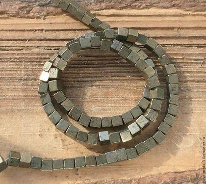Для украшений ручной работы. Ярмарка Мастеров - ручная работа. Купить Пирит 4 мм - 10 шт кубик гладкий бусины камни для украшений. Handmade.