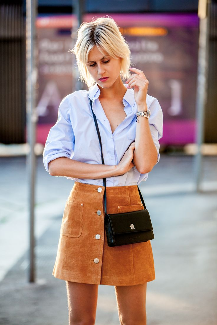 suede mini skirt and chambray shirt