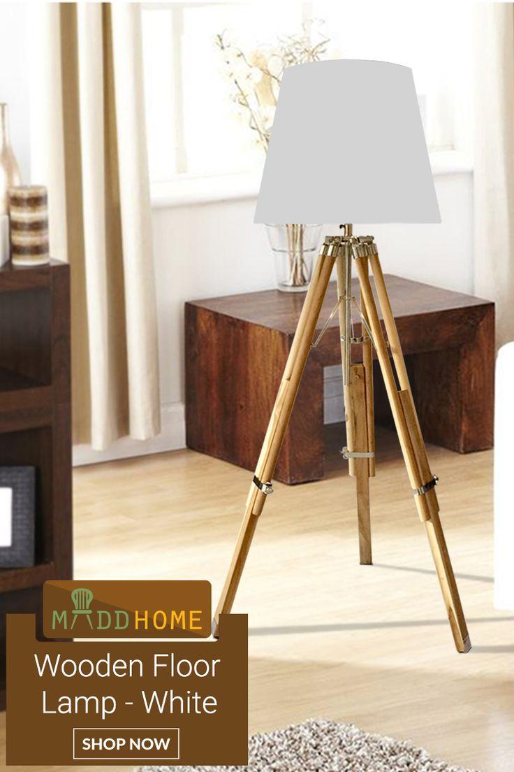 Luxurious & stylish wooden tripod floor lamp white!