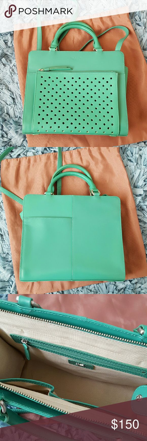 "Radley London Multi-way Bag This Kelly Green bag features grab handles and longer shoulder strap (not attachable or adjustable), exterior slip pocket and perforated zipper pocket, main zipper closure with interior zipper pocket and 2 slip pockets. Leather outer with fabric interior. Pre-loved and in excellent condition. This brand of bag is made to last. Grab handle drop is approximately 4.25"" and strap drop is approximately 17"". Dimensions are approximately 9.5"" x 11"" x 4"". Radley London…"