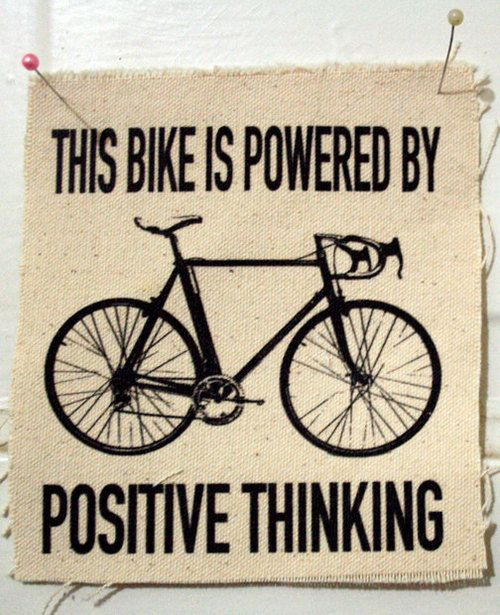 A bike is powered by positive thinking.
