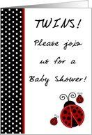 TWIN Red Lady Bug Black and White Polka dot Boarder Baby Girls Shower Invitation Card by Greeting Card Universe. $3.00. 5 x 7 inch premium quality folded paper greeting card. Greeting Card Universe offers the largest selection of Baby Shower invitations on the web. Make your loved ones feel special with a custom invitation. Send a Baby Shower invitation from Greeting Card Universe this year. This paper card includes the following themes: girls, chic, and couture. Greeti...