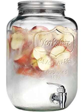Palais Glassware Mason Jar Beverage Dispenser - Traditional Tin Screw Off Lid - 2 Gallon Capacity - (Clear) ❤ Palais Glassware