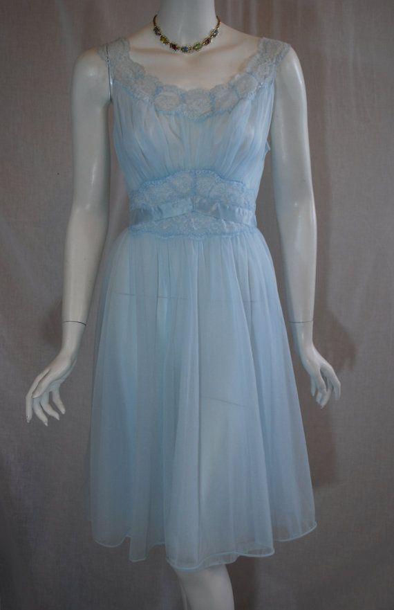 1950s Vanity Fair Blue Peignoir Set Nightgown & Robe