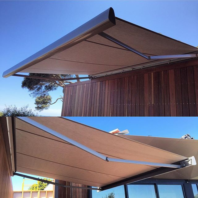 Stunning Lukris Trading #Brustor Folding Arm awnings installed today in sunny Melbourne...!! Looking amazing on this designer home! Actually they look amazing on any home! And sooo versatile- shade when you need and light when you want it! #homedesign #melbournehomes #custommade #outdoorblinds #melbournearchitecture #melbourneblinds #shades #awnings #motorisedblinds