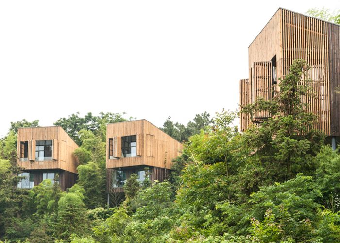 Tree top houses at Garden Valley - Mei Jie Mountain Hotspring resort in Liyang, China. by AchterboschZantman architecten #treehouse #bamboo #forest #wood #shutters #slats www.meijieresort.com