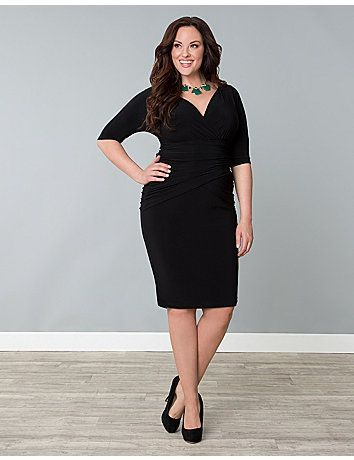 Head into the weekend looking fabulous in this Victoria Draped little black dress! #plus #size #sonsi