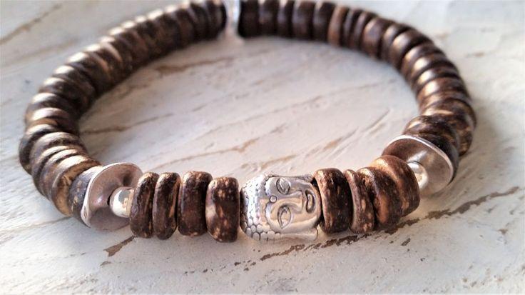 Trendiges Buddha Armband mit Kokosholz Perlen Armband SILBER in Uhren & Schmuck, Modeschmuck, Armbänder   eBay!