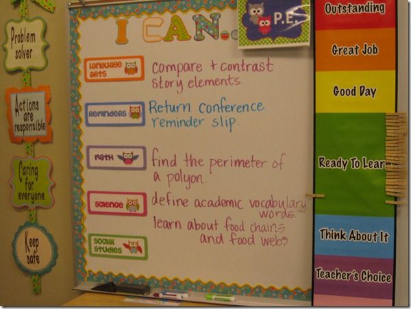 I CAN board. With this board, students know what they are doing for the day. It also helps administrators and parents see what the objectives are for the day. Much better than having plain objectives written across the board. I like the things on the sides too