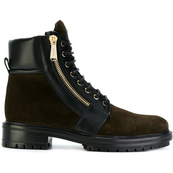 Balmain Army Ranger boots ($1,209) ❤ liked on Polyvore featuring men's fashion, men's shoes, men's boots, men's work boots, green, balmain mens boots, mens military boots, mens lace up work boots, mens leather lace up boots and mens leather work boots
