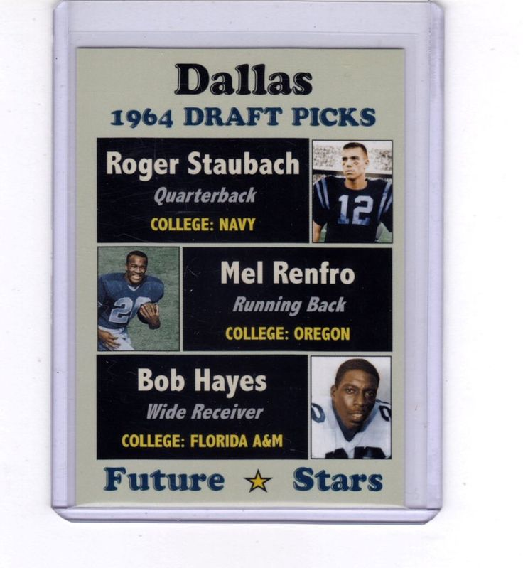 1964 Dallas Cowboys Draft Picks - rookies Roger Staubach, Mel Renfro, Bob Hayes #DallasCowboys