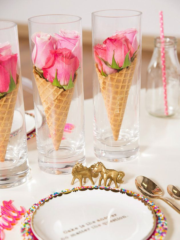 Waffle cones never looked better in clear glass vases with bright pink roses to accent their sweet nature.   http://www.lightsforalloccasions.com/p-5374-round-glass-vase-clear-cylinder-4-x-8-inches.aspx  http://www.lightsforalloccasions.com/p-6730-rose-bloom-artificial-flower-faux-floral-27-inch-magenta-pink.aspx