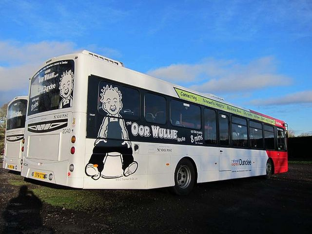 Wullie's on the bus, literally! The Dundee Express Oor Wullie route.