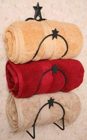Primitive Country Bathrooms   New Primitive Country Star Bath Towel Holder Wall Rack Bar Bathroom ...