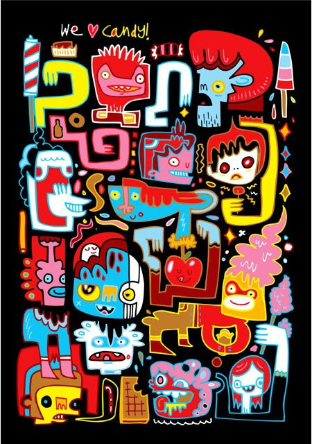 Jon Burgerman WE LOVE CANDY ART PRINT